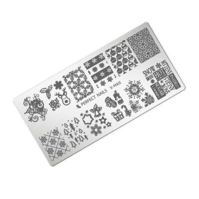 Platňa na pečiatkovanie - XMAS - vianočná platňa - ozdoba na nechty